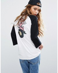 RVCA Oversized Raglan Baseball Top With 8 Ball Back Print