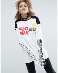 Asos T Shirt With Track Race Print And Super Long Sleeves