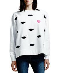 White Print Oversized Sweater