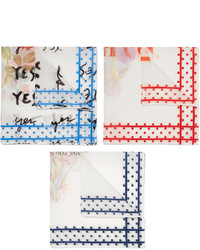Massimo Alba Set Of Three Floral Print Cotton Pocket Squares