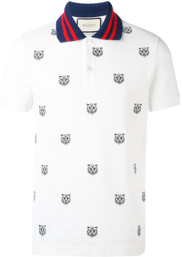 efe049297e1a Gucci Tiger Print Polo Shirt, £496 | farfetch.com | Lookastic UK