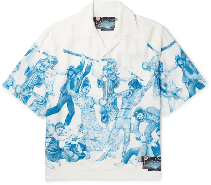 ... Prada Important Ones Camp Collar Printed Satin Shirt ...