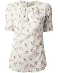 White Print Short Sleeve Blouse