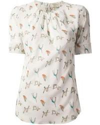 White Print Short Sleeve Blouse