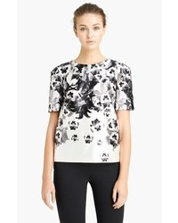 Prabal Gurung Pansy Print Satin Blouse Black White 6