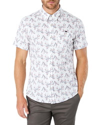 White Print Short Sleeve Shirt