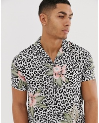 New Look Revere Collar Shirt In Floral Leopard Print