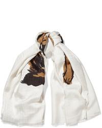 Balenciaga Printed Silk Twill Scarf Ivory