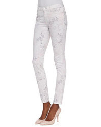 White Print Skinny Jeans
