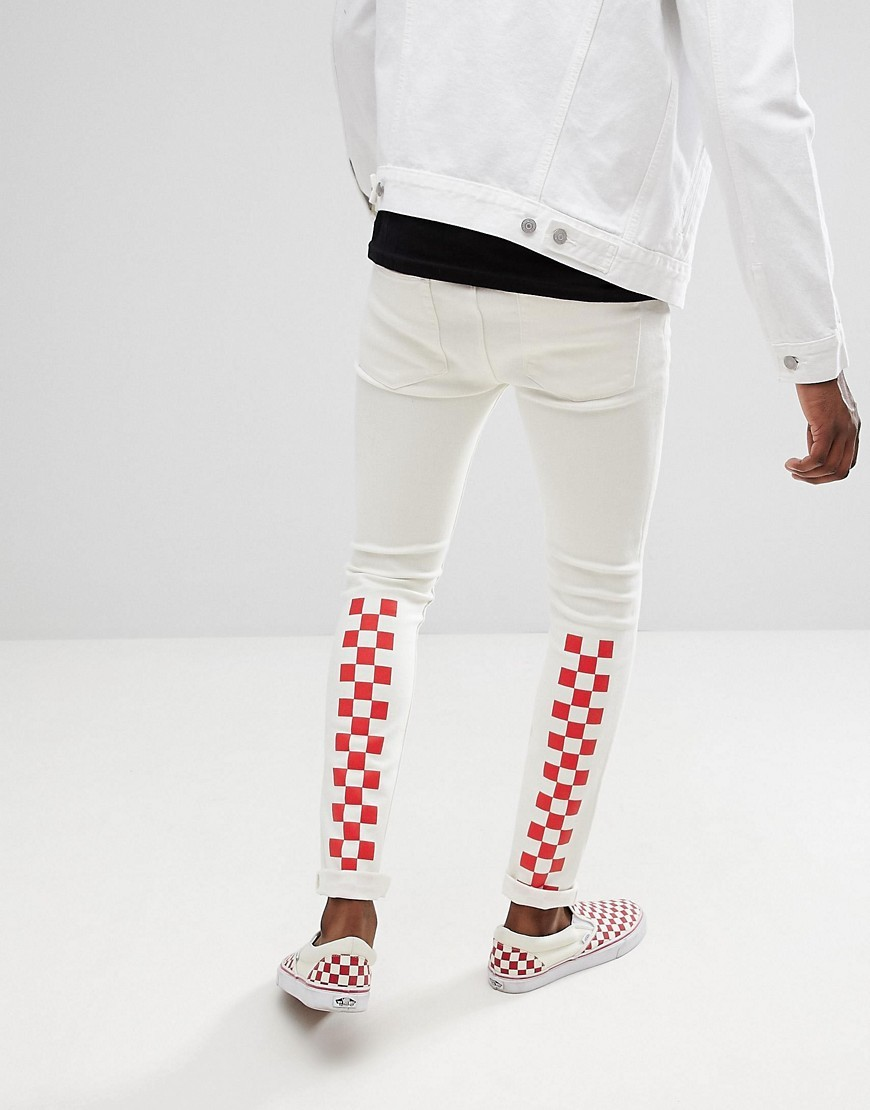 b87b6828f ... ASOS DESIGN Super Skinny Jeans In White With Red Checkerboard Print