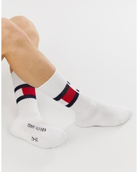 Tommy Hilfiger Flag Crew Socks In White