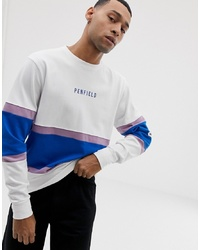 Penfield Contrast Panel Crew Neck Sweatshirt With Chest Y In White