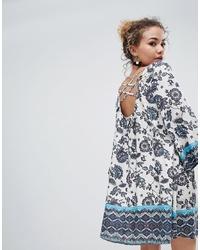 En Creme Long Sleeve Midi Dress In Border Print