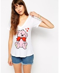 Wildfox Couture Wildfox Teddy V Neck Short Sleeve T Shirt Clean White