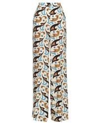 Etro Wide Leg Abstract Print Silk Trousers