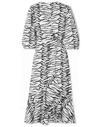 RIXO Noleen Tiger Print Cotton Voile Wrap Dress