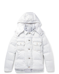 Sacai Quilted Denim And Shell Hooded Down Jacket