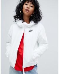 Nike White Small Logo Padded Jacket