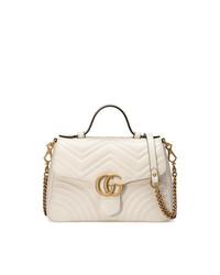 Gucci White Gg Marmont Small Tote Bag