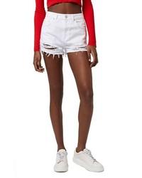 Topshop High Rise Ripped Denim Shorts