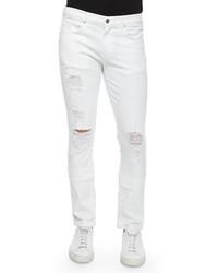 J Brand Jeans Tyler Deconstructed Slim Jeans White