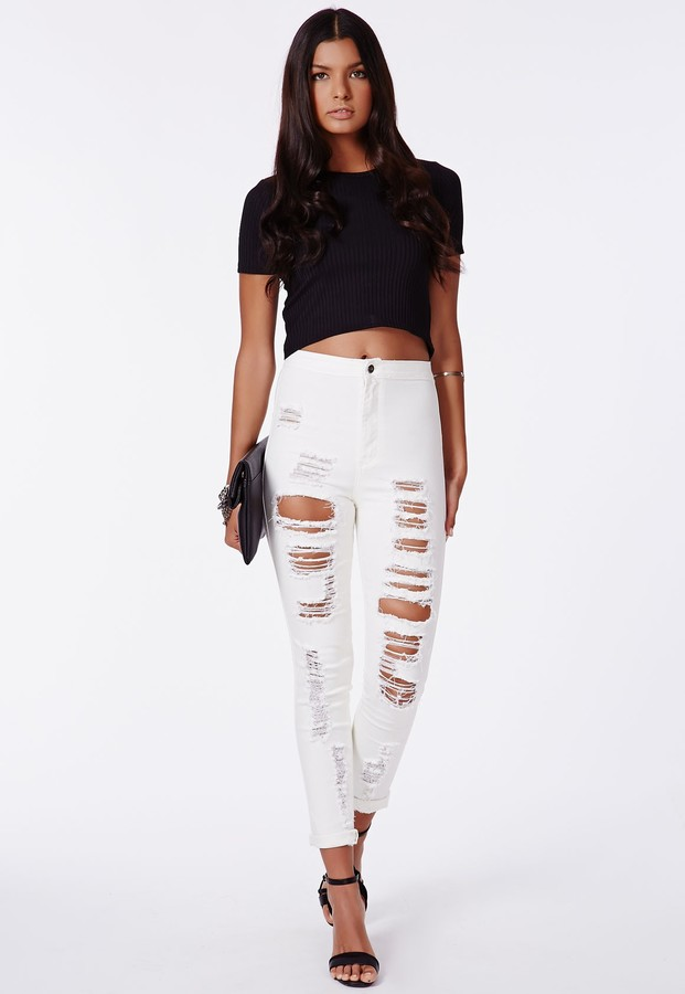 High waisted ripped skinny jeans uk