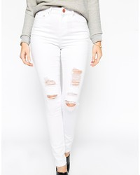 High Waisted White Ripped Jeans - Xtellar Jeans