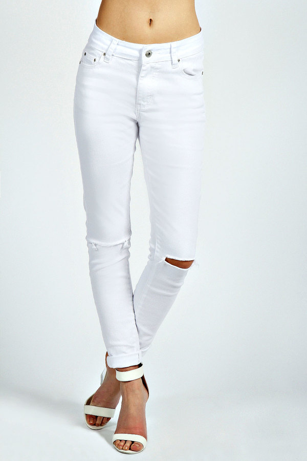 Ripped knee skinny jeans white – Global fashion jeans collection
