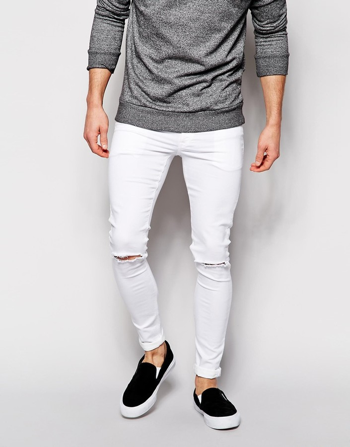 Asos Brand Extreme Super Skinny Jeans With Knee Rips | Where to ...