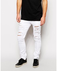 Asos Brand Skinny Jeans With Extreme Rips