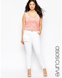 Asos Curve Lisbon Midrise Jean In Rock White With Thigh And Knee Rip