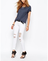 Tripp Nyc Low Rise Skinny Jeans With Rips Distressing