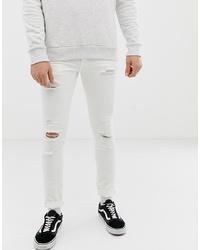 Jack & Jones Skinny Fit Jeans In White With Rip Repair