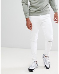 ASOS DESIGN Super Skinny In White With Knee Rips