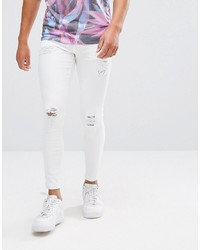 11 Degrees Super Skinny Jeans In White With Distressing