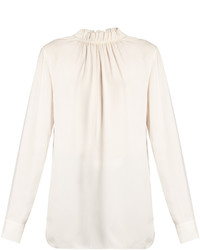 Marni Buttoned Back Ruffled Neck Crepe Blouse