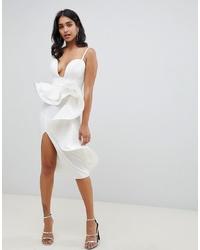 ASOS DESIGN Premium U Bar Wired Ruffle Midi Dress
