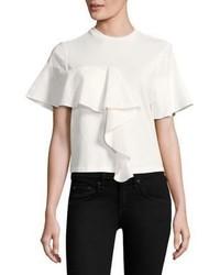 White Ruffle Crew-neck T-shirt