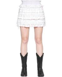 White Ruffle Lace Mini Skirt
