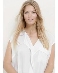 White Ruffle Short Sleeve Blouse