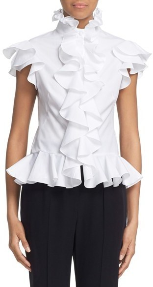Off White Ruffle Short Sleeve Blouse