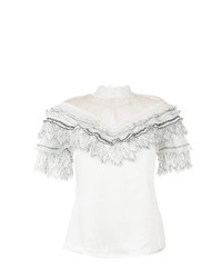 Self-Portrait Ruffled Bib Blouse