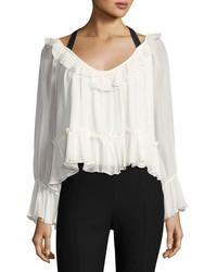 Cinq Sept Clothing Amina Tie Back Silk Ruffle Blouse Ivoryblack