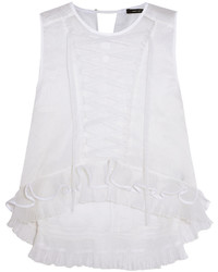 Isabel Marant Vienna Pintucked Lace Up Silk Blend Organza Top