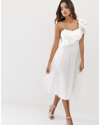 ASOS DESIGN One Shoulder Broderie Ruffle Tulle Midi Dress