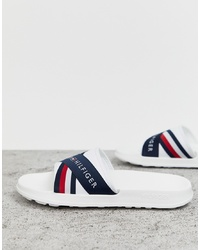 Tommy Hilfiger Splash Slider With Crossover Logo And Icon Stripe In White