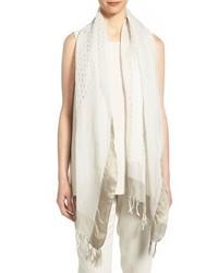 Eileen Fisher Silk Organic Cotton Fringed Scarf White