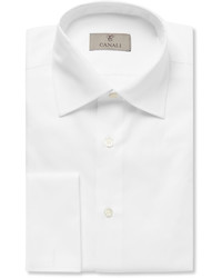 Canali White Slim Fit Double Cuff Cotton Twill Shirt