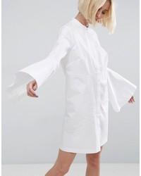 Asos White White Bell Sleeve Mini Shirt Dress