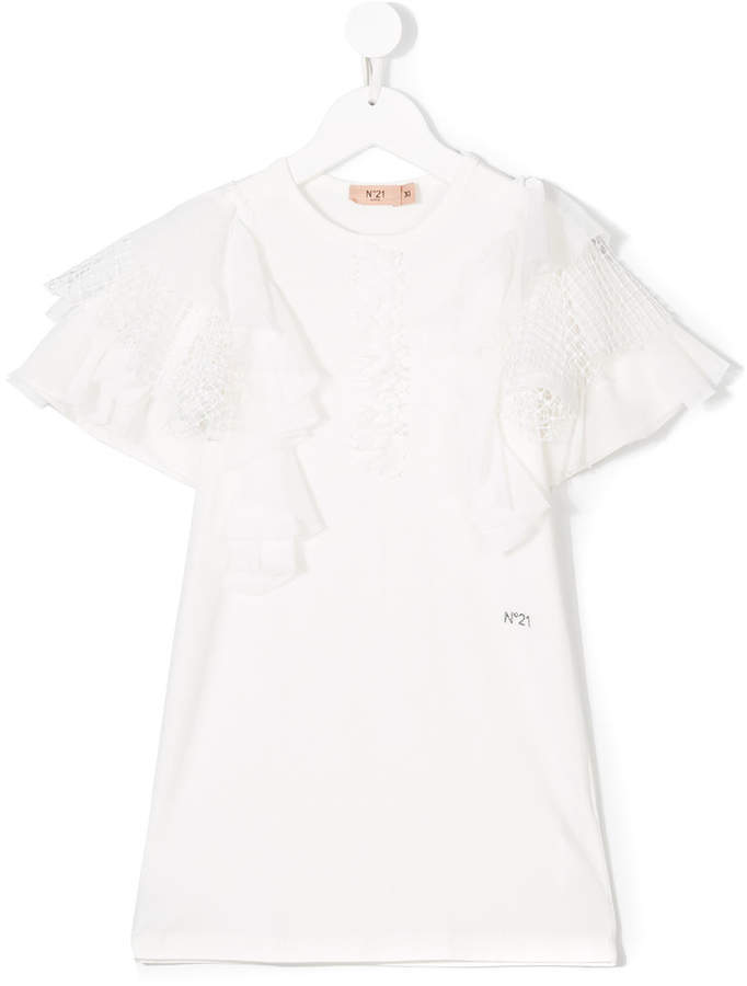 No21 Kids Short Sleeve Ruffle Blouse